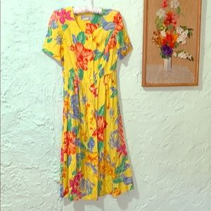 🌞 Vintage 90's Sunny Yellow Tropical Floral Dress